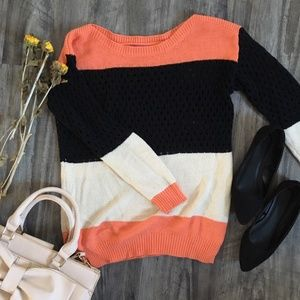 Tri Colored Light Weight Sweater